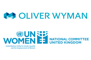oliver wyman and UN Women logos, rising star champion